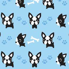 Cute French Bulldogs - Blue fabric by boredinc on Spoonflower - custom fabric. Looks more like a boston terrier.