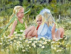 FAIRY CHILDREN 15x11 Giclee Watercolor Print by steinwatercolors, $40.00