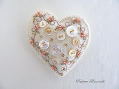 Felt Button Heart Pin by Beedeebabee on Etsy, $21.00