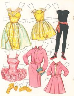1964 Barbie and Skipper Paper Doll clothes Barbie Paper Dolls, Barbie Skipper, Vintage Paper Dolls, Vintage Barbie Dolls, Vintage Toys, Vintage Stuff, Paper Doll Template, Paper Dolls Printable, Paper Toys