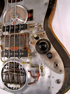 Custom Electric Smashmouth Steampunked Bass Guitar - Control Detail Picture - by Tony Cochran