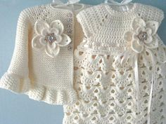 This Christening Gown Crochet Baby Dress Set Crochet Baptism Baby Girl Dress Baby Cardigan Baby Girl Outfit Knitted Baby Dress Newborn Baby Gift is just one of the custom, handmade pieces you'll find in our dresses shops. Crochet Skirt Pattern For Toddler Baby Girl Patterns, Baby Knitting Patterns, Crochet Patterns, Crochet Baby Dress Pattern, Sweater Patterns, Vest Pattern, Crochet Ideas, Free Pattern, Knit Baby Dress