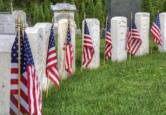 Civil War headstones on Memorial Day in Maple Grove Cemetery, Wichita, Kansas