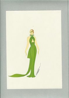 Limited Edition Vintage Art Deco Erte 1975 Fashion Print Fashion Illustration Of 1937 Evening Dress Emerald Green, Ideal For Framing.