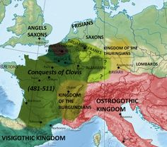 A map illustrating the conquests of Clovis I (466-511/513 CE), King of the Franks.