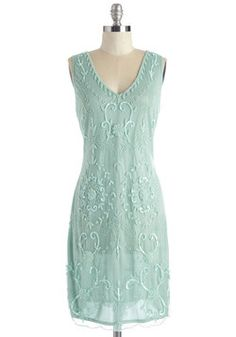 Bead It Dress in Seaglass. Theres no going wrong in this beautiful embellished dress, which will be available for purchase in May! #mint #prom #modcloth