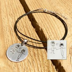 Your childrens drawing necklace silver by CustomLeatherDesign