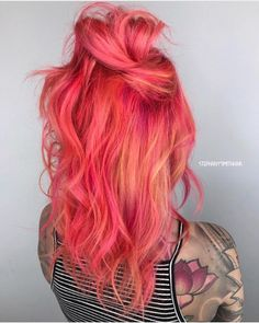 24 Blorange Hair Color Ideas - New Site Bright Hair Colors, Hair Dye Colors, Cool Hair Color, Bright Coloured Hair, Vivid Hair Color, Colourful Hair, Colored Hair, Colours, Coral Hair