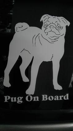 Pug on Board Decal included in the 15% off sale going on this week! Check out pugjava.com for more items.  All proceeds directly benefit pugs in rescue. <3