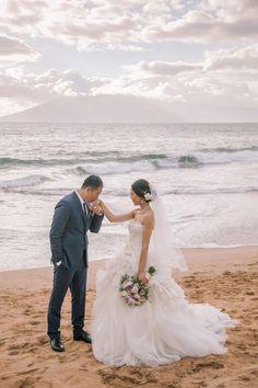 Ruffled tulle ballgown, Hawaii wedding, beach love // Clane Gessel Photography