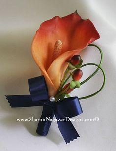 Navy Blue burnt orange persimmon bouquet by SharonNagassarDesign