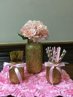 Gold glitter mason jars  Pink & Gold Glitter & Pearls Baby shower
