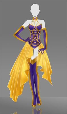 Adoptable Outfit Auction: The Gold Bellflower by Nagashia on DeviantArt Dress Drawing, Drawing Clothes, Manga Drawing, Fashion Design Drawings, Fashion Sketches, Anime Outfits, Cool Outfits, Vestidos Anime, Super Heroine