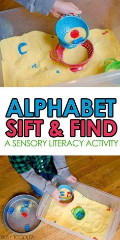 Alphabet Sift and Find - Busy Toddler Alphabet Sift and Find - check out this seriously fun and easy toddler activity! It's a combination of literacy and sensory fun - an alphabet learning activity for toddlers and preschoolers. Toddler Learning Activities, Alphabet Activities, Indoor Activities, Literacy Activities, Kids Learning, Language Activities, All About Me Activities For Toddlers, Process Art Preschool, Science Activities For Toddlers