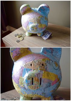 Travel Fund Piggy Bank from Project Seasonal! Travel Fund Piggy Bank from Project Seasonal! Summer Arts And Crafts, Diy Arts And Crafts, Cute Crafts, Diy Crafts, Travel Fund, Travel Box, Savings Jar, Paper Mache Crafts, This Little Piggy