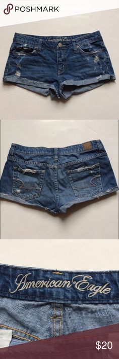 American Eagle Distressed Denim Jean Shorts Great condition!  No flaws.  Perfectly distressed. Size 4. No trades. American Eagle Outfitters Shorts Jean Shorts