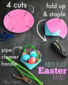 How to make an Easter basket out of a paper plate - great!
