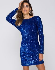 Lovin' a little sparkle and shine? Beat the blues with our best selling Gabby dress, now in a striking cobalt. Get ultimate party vibes with it's figure hugging fit, mini length, long sleeves and sultry v back. Work the dancefloor with your fave party heel