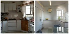 modern white kitchen before and after