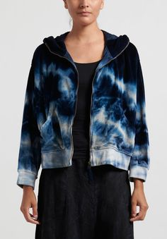 """Gilda Midani Pattern Dyed """"Mini Midani"""" Hoodie in Blue Ray 
