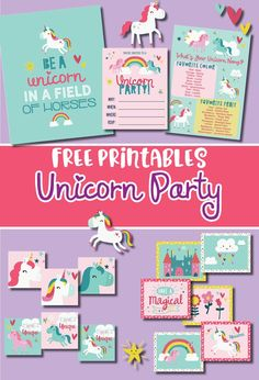 Free Unicorn Party printables with a be a unicorn in a field of horses print, invitations, what's your unicorn name game. Several of the decorations are easy to use anywhere! Unicorn Birthday Parties, Birthday Party Themes, Birthday Invitations, Print Invitations, Invitation Wording, 5th Birthday, Birthday Ideas, Rainbow Unicorn Party, Pony Party