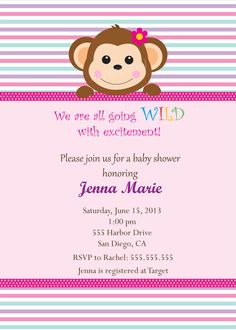 Monkey Jungle Zoo Safari Theme Girl Baby Shower  by PaperPapelShop, $10.00
