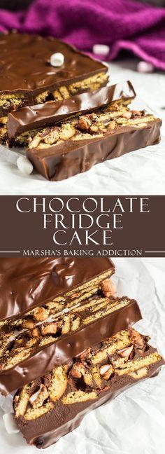 Chocolate Fridge Cake - Digestive biscuits and mini marshmallows coated in creamy, thick dark chocol Mini Desserts, Brownie Desserts, Oreo Dessert, No Bake Desserts, Delicious Desserts, Dessert Recipes, Tray Bake Recipes, Baking Desserts, Chocolate Fridge Cake