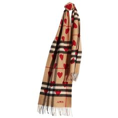 Burberry Classic Cashmere Scarf in Check and Hearts ($650) ❤ liked on Polyvore featuring accessories, scarves, burberry scarves, cashmere scarves, checkered scarves, cashmere shawl and woven scarves