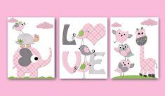 "Childrens art Kids Wall Art Baby Girl Nursery kids print baby girl print Nursery print Giraffe Nursery Elephant Nursery rose set of 3 8""x10"""
