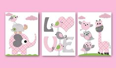 Childrens art Kids Wall Art print Baby Girl Nursery room decor