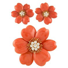 VAN CLEEF & ARPELS Rose de Noel Orange Coral Brooch and Earrings | From a unique collection of vintage brooches at http://www.1stdibs.com/jewelry/brooches/brooches/
