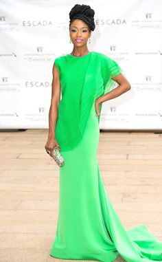 Yaya DaCosta from The Best of the Red Carpet  Oh la la! The former America's Next Top Model contestant stuns in an elegant emeraldChristian Siriano gown at theAmerican Ballet Theater's 75th Anniversary Diamond Jubilee Spring Gala.
