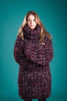 Hand Knit Mohair Sweater Cozyknittings Multi Color Turtleneck Unisex One  Size   eBay Anziehen, Stricken 0c67545dc2