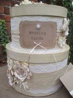 Vintage Style Hatbox Wedding Card Holder Post Box Decorated with handmade flowers with diamante pearl centres Vintage style lace trimmed with crushed