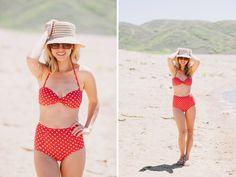 Love this retro cut polka dot bikini!