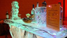 Another ice bar produced by Ice Magic with a chiller for champagne. Ice Logo, Ice Magic, Ice Bars, Food Displays, Ice Sculptures, Liquor, Champagne, Carving, Creative