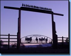 Ranch gate with silhouettes