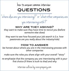 How to answer the common interview question Where else are you interviewing?
