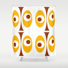 Modern Shower Curtain, Yellow Shower Curtain, Mid Century Modern Shower…