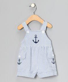 Blue Sailboat Seersucker Shortalls - Infant