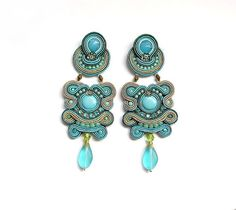 Statement Earrings Soutache Jewelry Turquoise Long by StudioGianna, $69.00