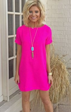 Stitch Fix - I LOVE bright pink! And most bright or bold colors. Love shift dresses, short sleeves, would prefer v-neck.