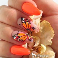 Fresh Spring Nail Designs To Turn Your World Upside Down - Nageldesign - nails Butterfly Nail Designs, Butterfly Nail Art, Fall Nail Art Designs, Acrylic Nail Designs, Bright Nail Designs, Orange Butterfly, Cool Nail Designs, Flower Designs, Trendy Nails