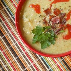 Creamy Bacon, Leek & Cauliflower Soup (That's the gist of it. Chicken stock base.)