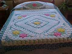 Beautiful 50's plush thick Chenille Bedspread with by designer2, $229.00