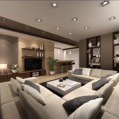modern living room ideas 34 cozy small living room decor ideas for your apartment 15 Living Room Modern, Home Living Room, Living Room Designs, Living Room Decor, Lights For Living Room, Spacious Living Room, Room Lights, Classy Living Room, Small Living Rooms