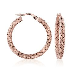 Roberto Coin 18kt Rose Gold Woven Hoop Earrings.  Don't own any Rose Gold and these would kick off a collection.  Classic style.  Love these.