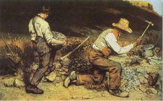 steenbreker, Courbet 2x3 m Dit werk is vernietigd in 1945 Op en top modern: steenkappers waren een moderne job. Deze boeren werden gedwongen stenen te kappen door de staat, waardoor dit werk tegelijk een aanklacht tegen de staat was. -Niet geïdealiseerde figuren; vies en vuil -Gezichten werden niet getoond: door de potentiële wapens in hun hand werd er naar sociale revolutie geoogd: hierdoor kon iedereen zich mee instemmen