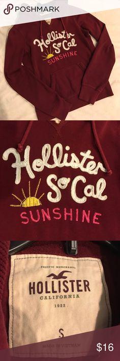 Hollister hoodie Burgundy Hollister hoodie, size Small. Worn a handful of times but still in good shape! Hollister Tops Sweatshirts & Hoodies