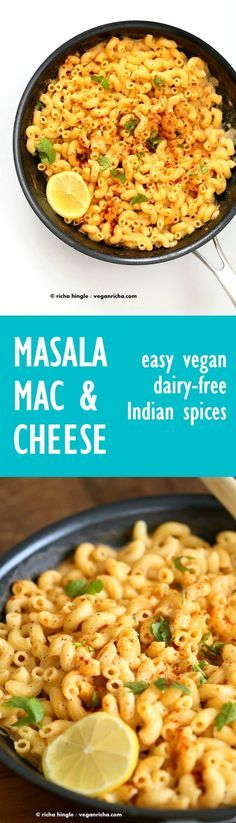 Masala Mac and Cheese | VeganRicha.com Garam masala spice blend, cumin, fennel, cayenne, nigella and fenugreek seeds in this Indian Spiced cheese sauce. #Vegan #Recipe. Can be gluten-free